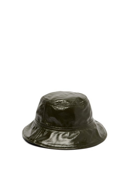 Marques'almeida - Patent Leather Bucket Hat - Womens - Green