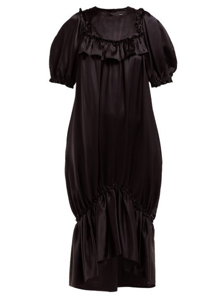 Simone Rocha - Ruffle Trim Fishtail Hem Silk Satin Dress - Womens - Black