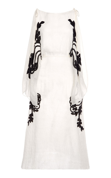 Prada Cold-Shoulder Embellished Silk Midi Dress Size: 36 in white