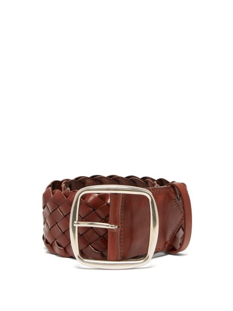 Etro - Braided Leather Belt - Womens - Tan