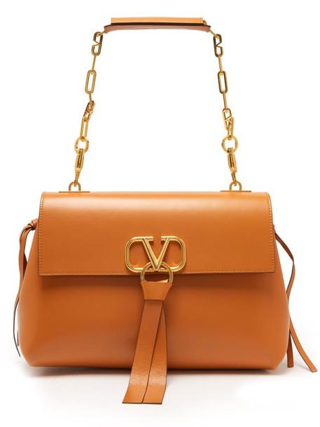 Valentino - Go Logo Medium Leather Shoulder Bag - Womens - Tan