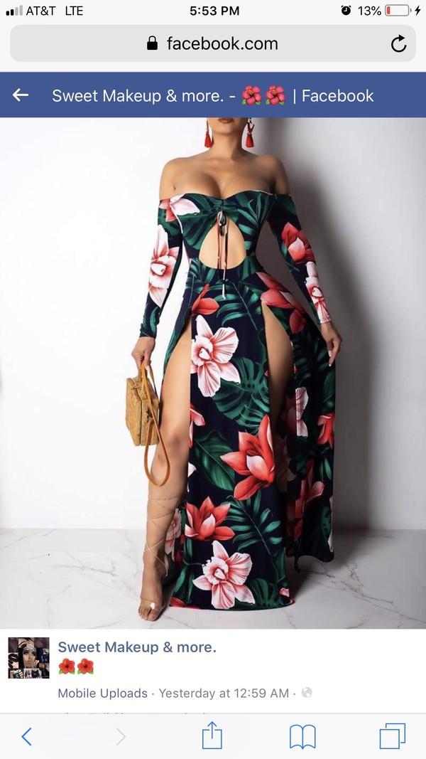 dress floral dress floral strapless slit dress
