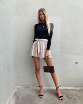 shoes,sandal heels,High waisted shorts,black top,bag