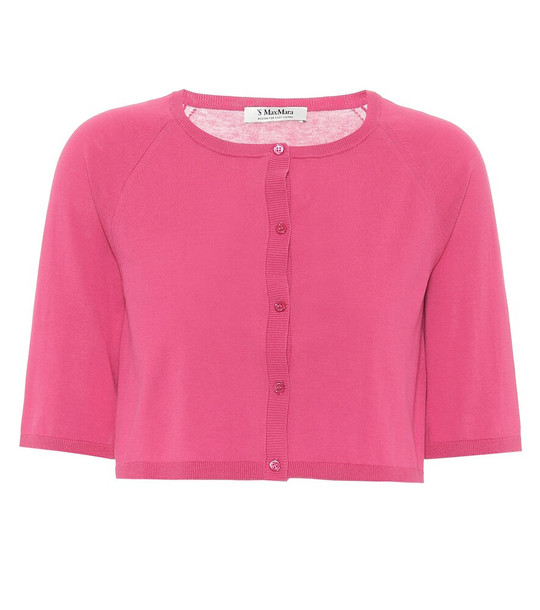 S Max Mara Giochi cropped cotton cardigan in pink