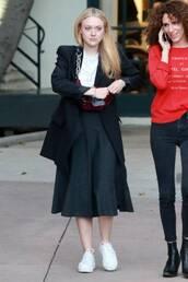 skirt,midi skirt,dakota fanning,sneakers,celebrity,fall outfits,black and white