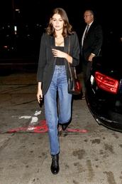 bag,kaia gerber,jeans,purse,denim,black blazer
