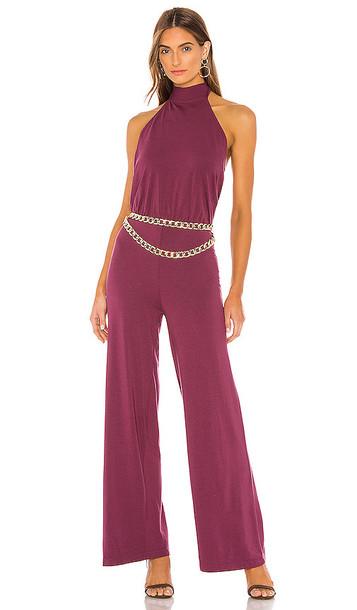 Bobi Draped Modal Jersey Jumpsuit in Purple
