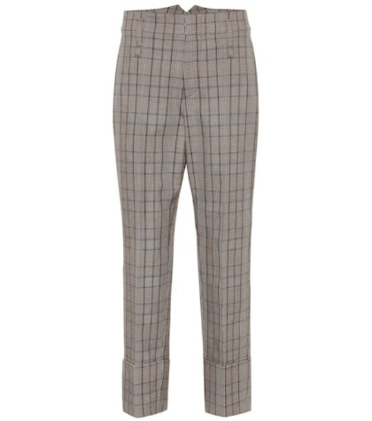 Brunello Cucinelli Checked wool and cotton pants in grey