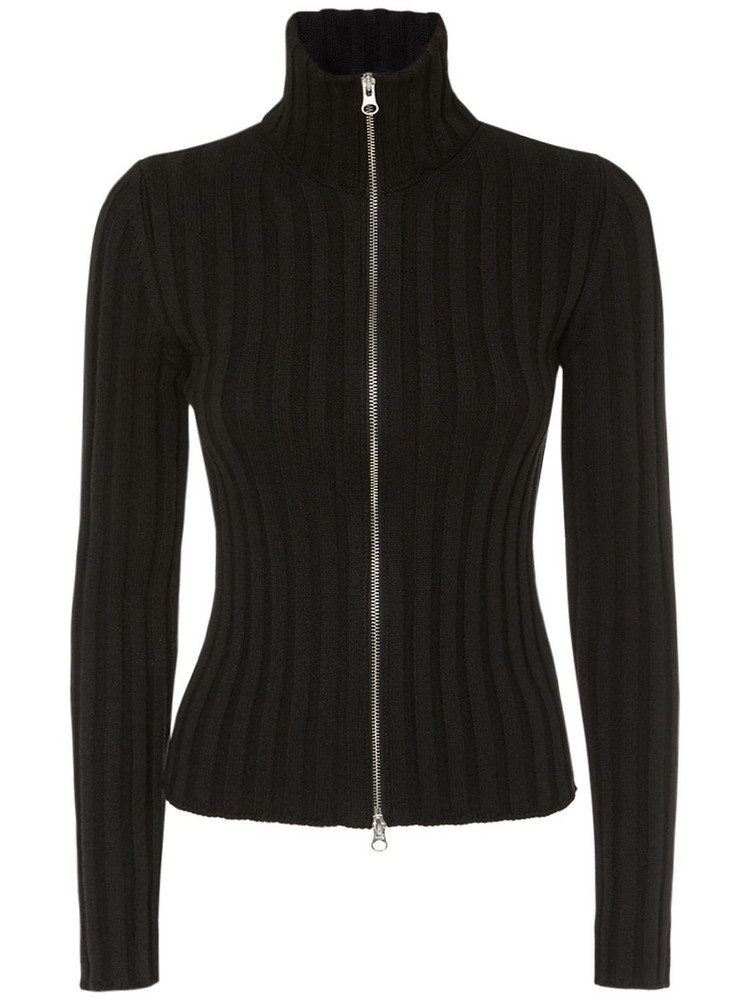 MM6 MAISON MARGIELA Cotton & Wool Rib Knit Zip Cardigan in black
