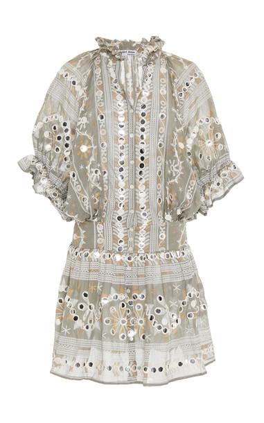 Juliet Dunn Embroidered Cotton Blouson Dress in grey