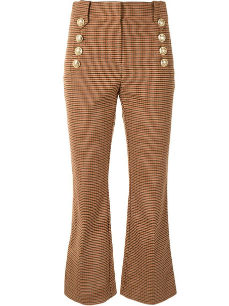 Derek Lam 10 Crosby check buttoned kick-flare trousers in brown