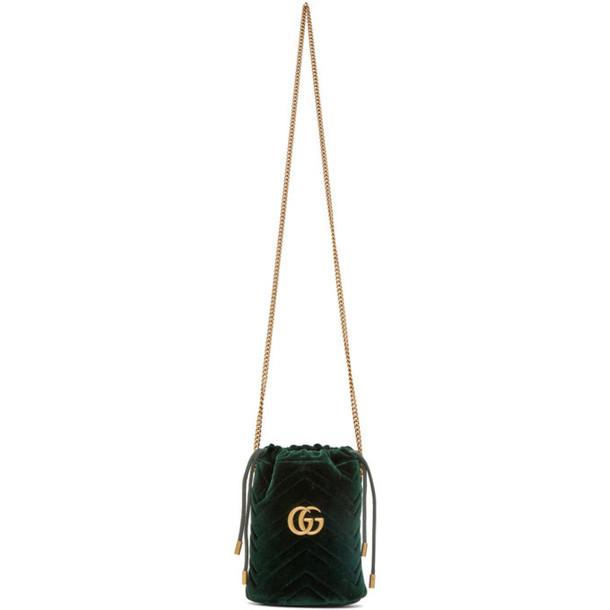 Gucci Green Velvet GG Marmont Bucket Bag
