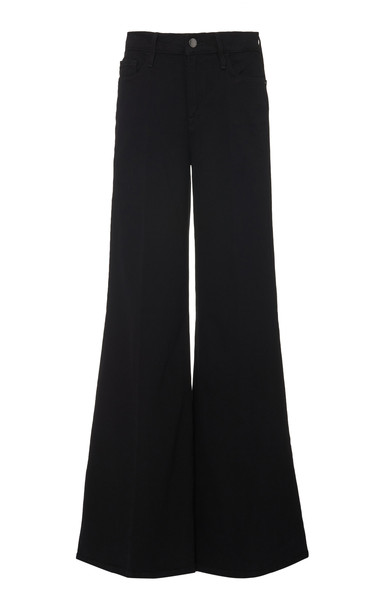 FRAME Le Palazzo High-Rise Flared Jeans Size: 25 in black