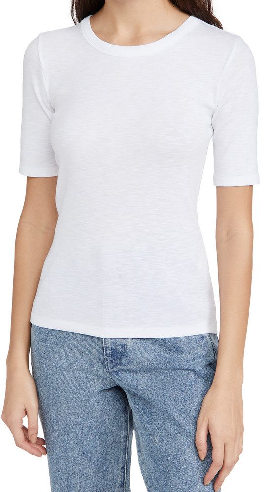 Vince Elbow Sleeve Crew Tee in white