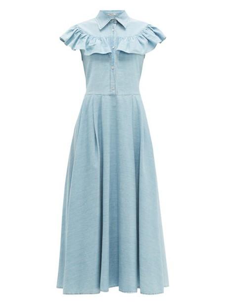 Miu Miu - Ruffled Denim Midi Dress - Womens - Light Blue