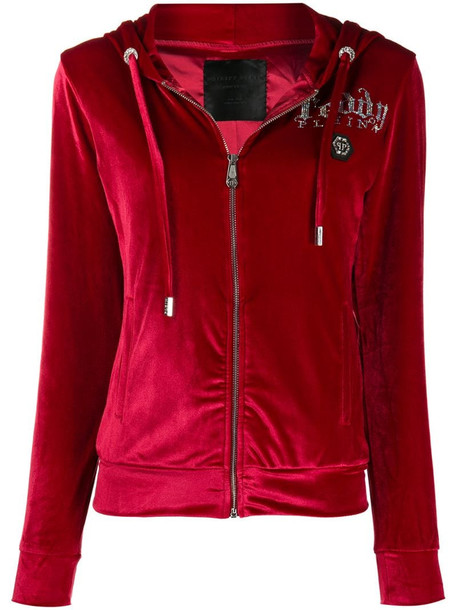 Philipp Plein crystal-embellished velour track jacket in red