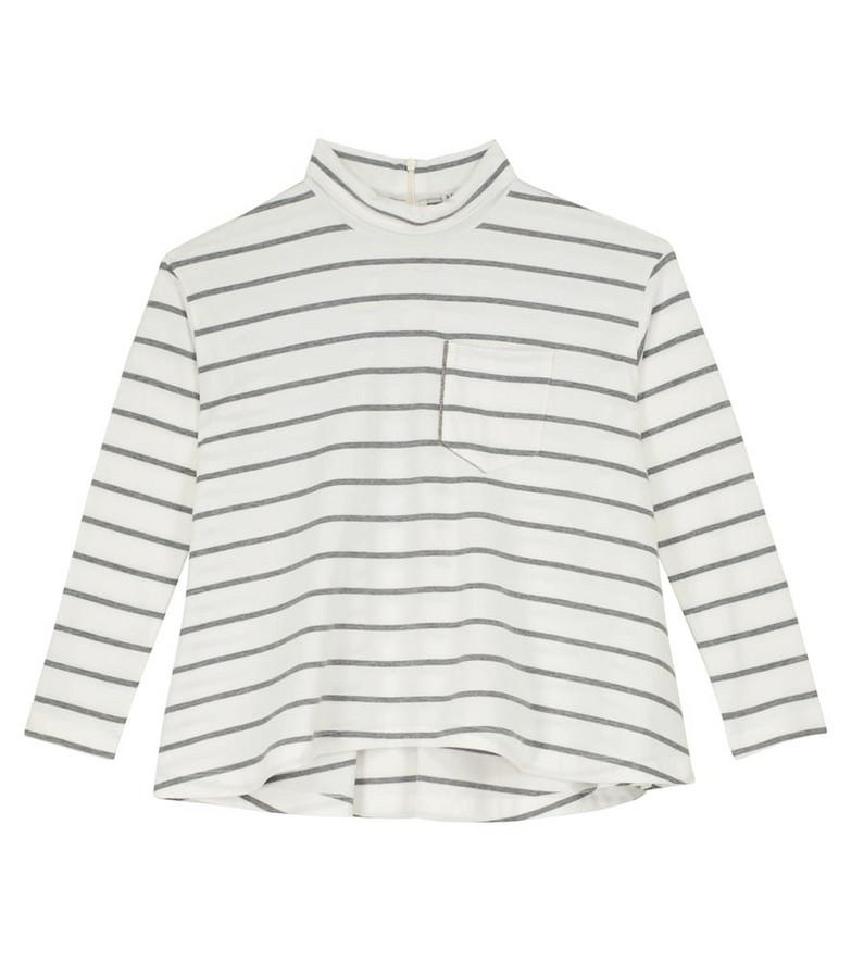 Brunello Cucinelli Kids Striped cotton top in grey