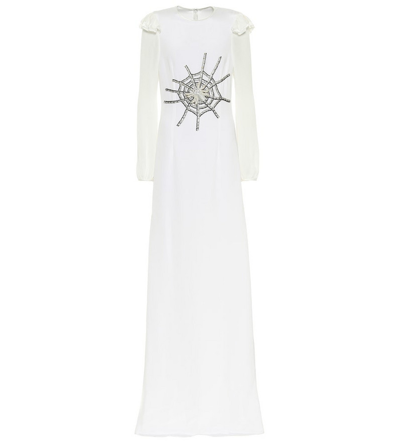 Rodarte Embellished silk gown in white
