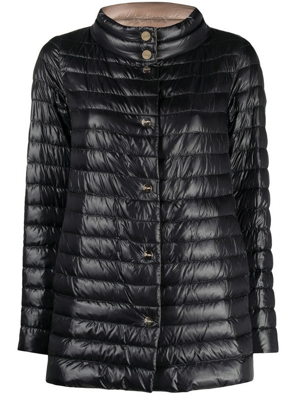 Herno reversible snap-button fastening padded jacket in black