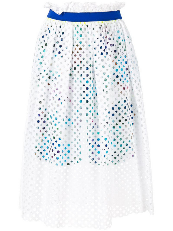 Kolor mesh layered skirt in white