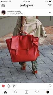 bag,red oversized satchel