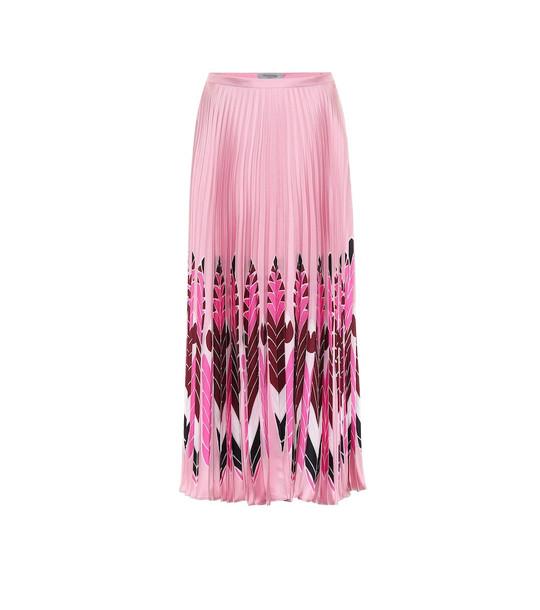 Valentino Printed silk midi skirt in pink