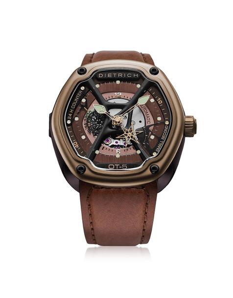 Dietrich Ot-5 316l Bronze Steel Men's Watch W/luminova And Brown Leather Strap