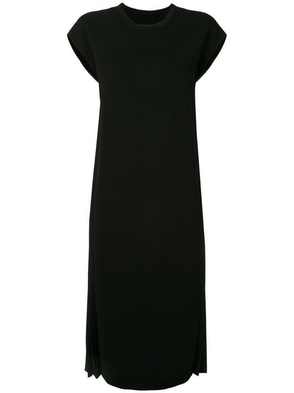 Juun.J side pleated dress in black