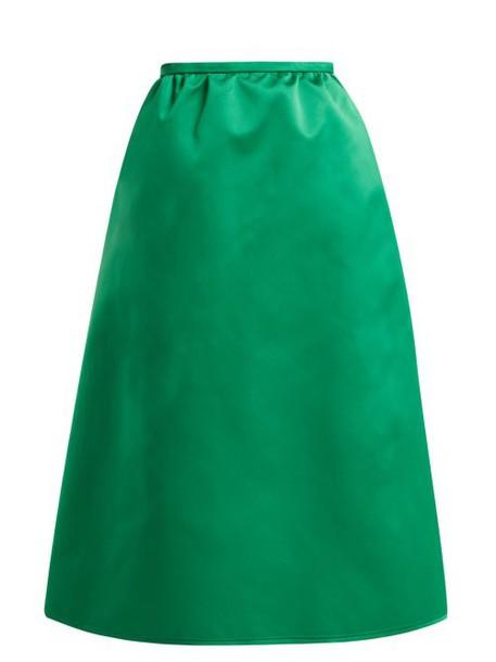 Rochas - High Rise Duchess Satin Midi Skirt - Womens - Green