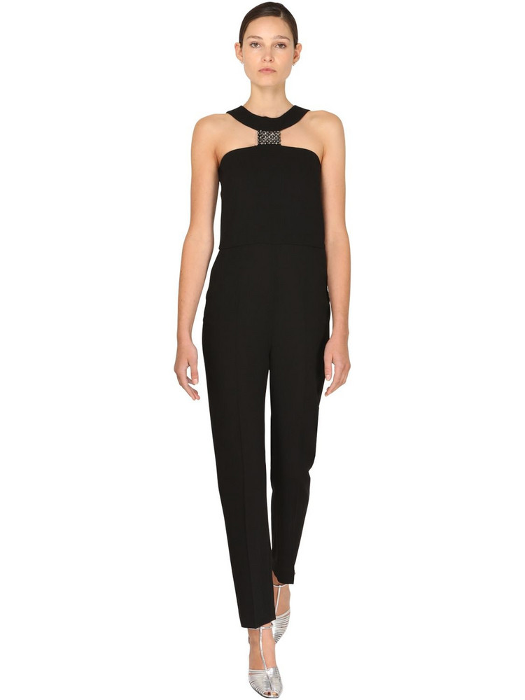 GIVENCHY Fitted Crepe Jumpsuit W/ Crystals Detail in black