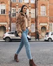 jacket,teddy jacket,leopard print,ankle boots,straight jeans,black bag,top,long sleeves,belt