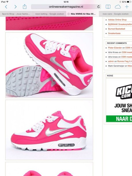 shoes nike pink white sneakers