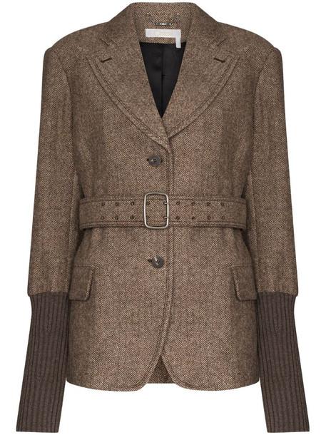 Chloé ribbed-cuff herringbone blazer in brown