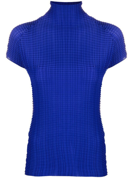 Issey Miyake pleated rollneck top in blue