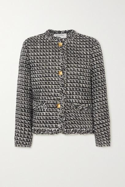 VALENTINO - Sequin-embellished Metallic Wool-blend Tweed Jacket - Black