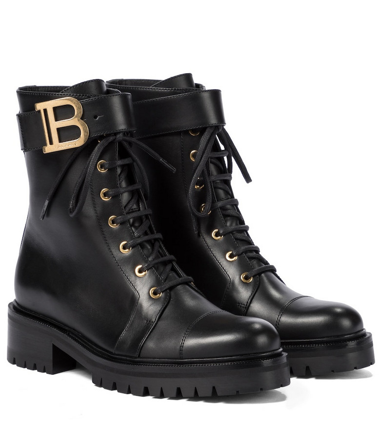 Balmain Ranger Romy leather combat boots in black