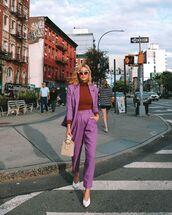 pants,high waisted pants,blazer,mules,handbag,turtleneck sweater,michelle madsen,home - take aim,blogger,jacket