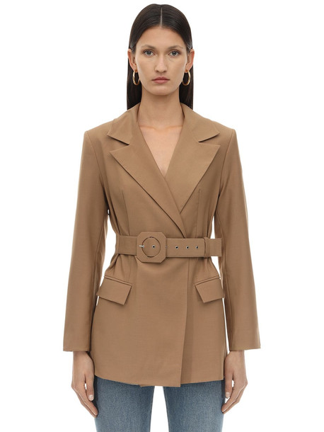 LIYA Attached Belt Wool Blend Blazer in camel