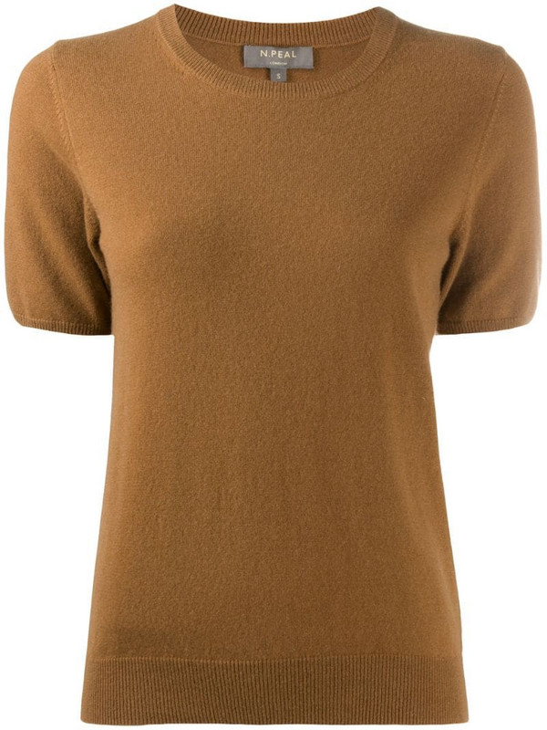 N.Peal crew neck cashmere T-Shirt in brown