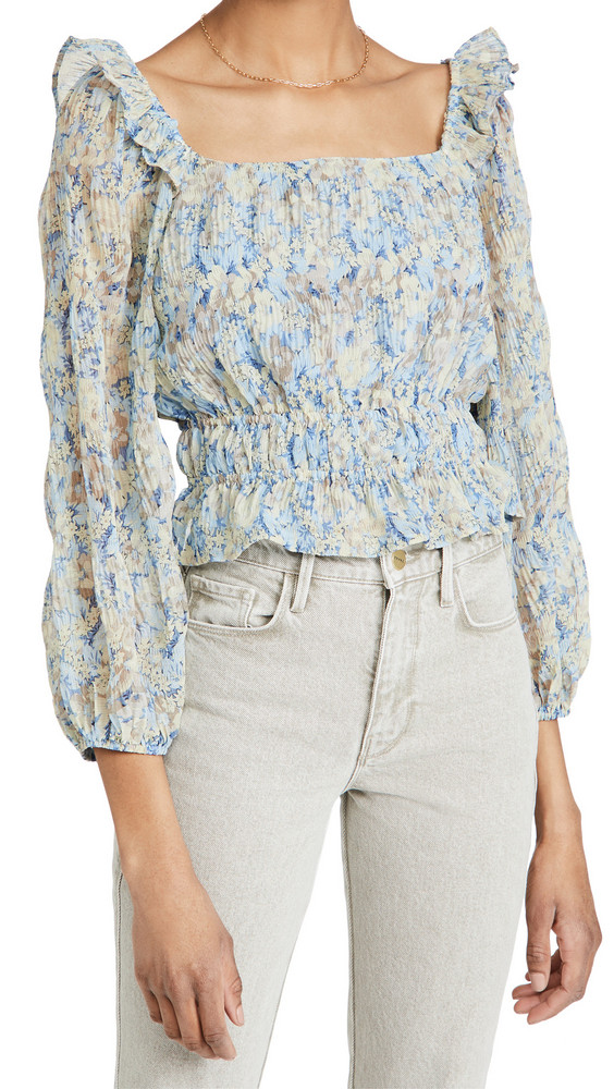 ASTR the Label Elva Top in blue / taupe