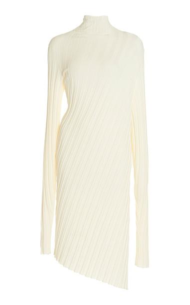 Boyarovskaya Asymmetric Ribbed-Knit Sweater Dress in white