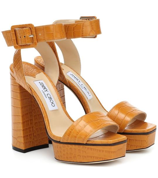 Jimmy Choo Jax 125 leather platform sandals in orange