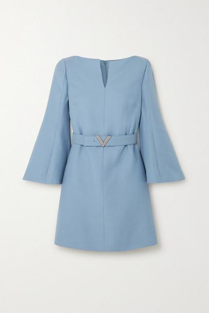 VALENTINO - Crystal-embellished Belted Wool And Silk-blend Crepe Mini Dress - Blue