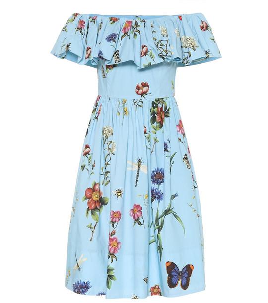 Oscar de la Renta Floral stretch-cotton minidress in blue