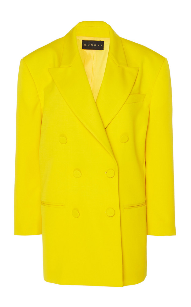 Dundas Oversized Double-Breasted Wool Blazer Size: 36 in yellow