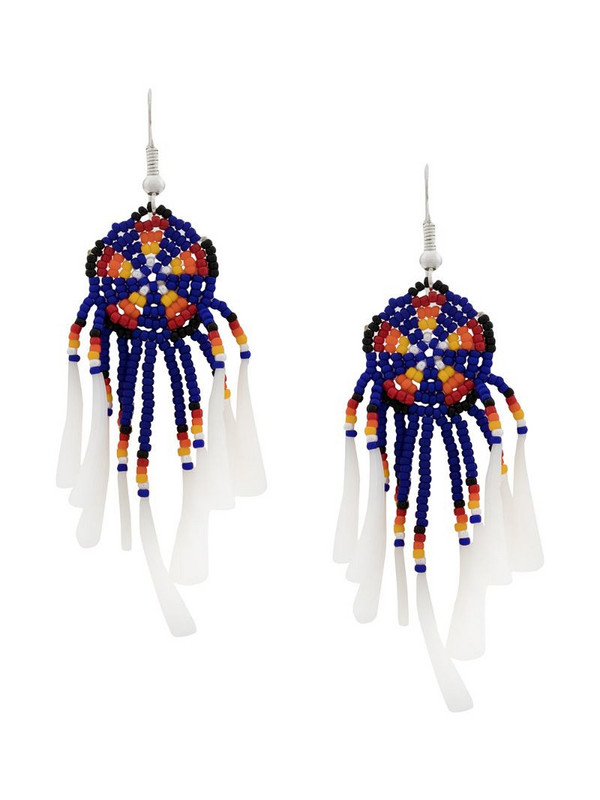 Jessie Western beaded drop earrings in blue