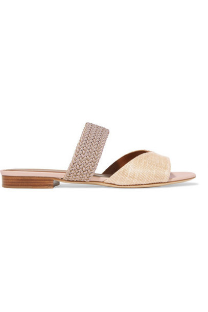 Malone Souliers - Rodena Cord-trimmed Woven Raffia Sandals - Beige