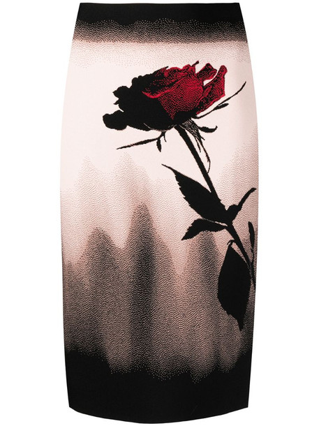 Alexander McQueen rose motif pencil skirt in black