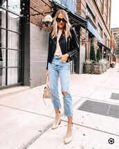 jeans,ripped jeans,ankle boots,bag,black leather jacket,top