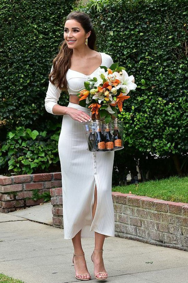 top white olivia culpo celebrity crop tops two-piece midi skirt skirt blogger